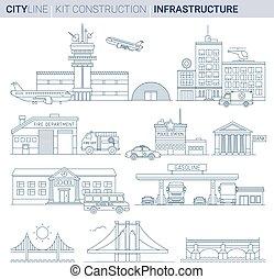 egyenes, vektor, ábra, set., infrastructures