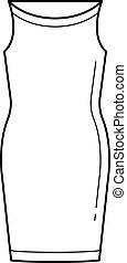 egyenes, vektor, ruha, icon., női ruhaderék