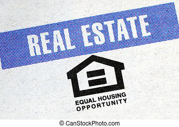 egyenlő, ház, alkalom, helyett, a, ingatlan tulajdon, iparág