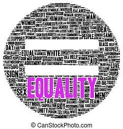 egyenlőség, alakít, szó, felhő