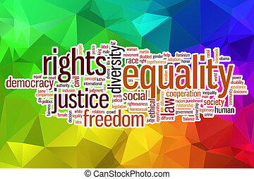 egyenlőség, elvont, szó, felhő, háttér