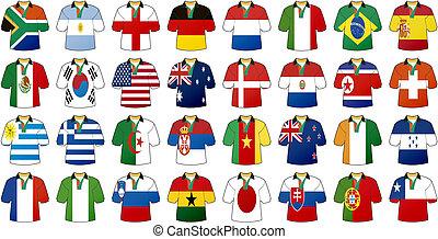 egyenruhába öltöztetni, közül, nemzeti, zászlók