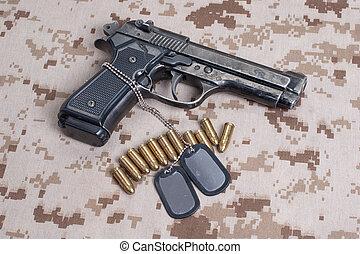 egyenruha, kéz, dezertál, tengerészgyalogság, pisztoly, ...