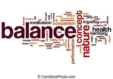 egyensúly, szó, felhő