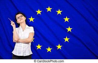 egyesítés, üzletasszony, lobogó, európai