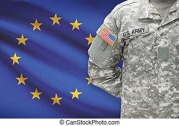 egyesítés, -, amerikai, katona, lobogó, háttér, eu, európai