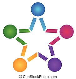 egyesítés, csapatmunka, emberek, csillag, jel