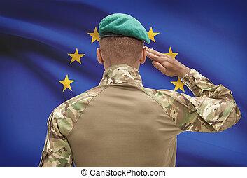 egyesítés, dark-skinned, -, katona, lobogó, háttér, eu, európai