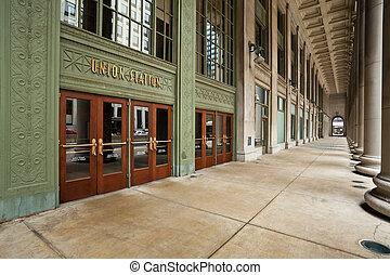 egyesítés, entrance., állomás, chicago