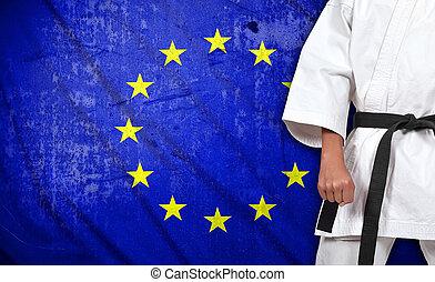 egyesítés, fiú, lobogó, kimonó, európai