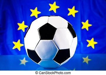 egyesítés, futball, lobogó, labda, európai
