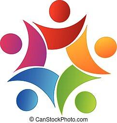 egyesítés, jel, swooshes, csapatmunka, emberek