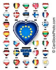 egyesítés, ország, vektor, zászlók, ikon, európai