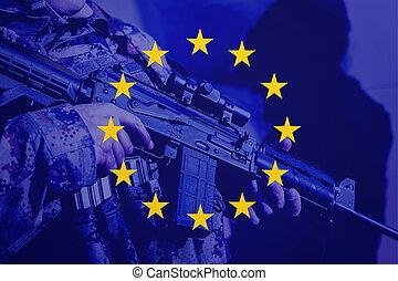 egyesítés, pisztoly, gép, katona, lobogó, európai