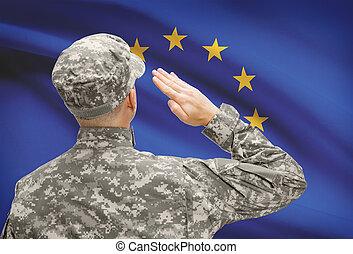 egyesítés, sorozat, nemzeti, -, fordulat, katona, lobogó, eu, kalap, európai
