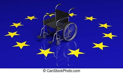 egyesítés, tolószék, lobogó, európai