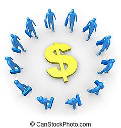 egyesített, -, dollár, jövedelem