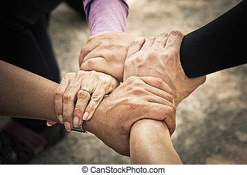 egyesített, kéz, /teamwork, 4, összegyűjt, gyűlés