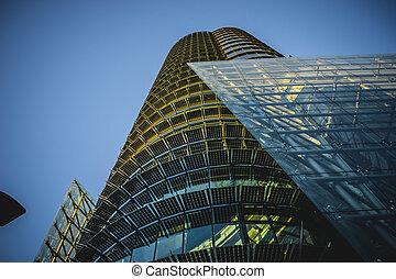 egyesített, modern, kristály, épület, hivatal világűr