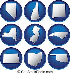 egyesült államok, gombok, egyesült, kilenc