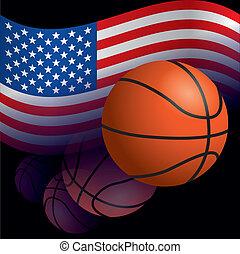 egyesült államok, kosárlabda, lobogó, egyesült