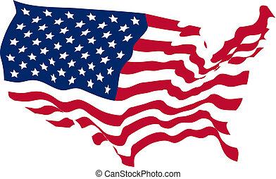 egyesült államok, lobogó, egyesült, alakú