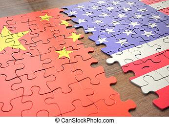 egyesült államok, rejtvény, egyesült, kína