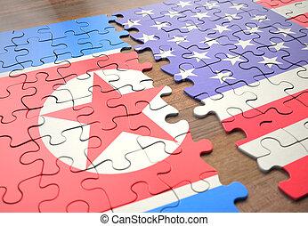 egyesült államok, rejtvény, korea, észak, egyesült