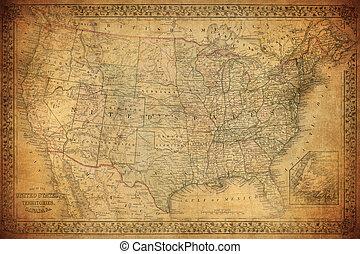 egyesült államok, térkép, egyesült, 1867, szüret