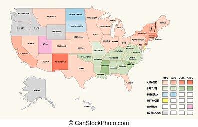 egyesült államok, térkép, egyesült, amerika, vallás