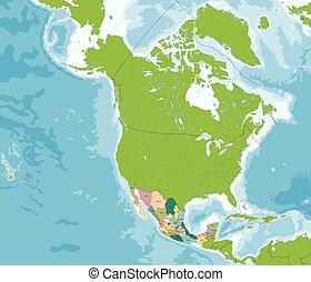 egyesült államok, térkép, egyesült, mexikói