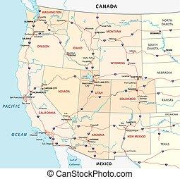egyesült államok, térkép, egyesült, western