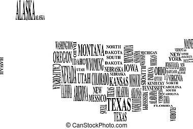egyesült államok, térkép, egyesült, wi