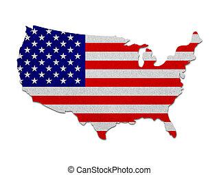 egyesült államok, térkép, noha, a, lobogó, dolgozat