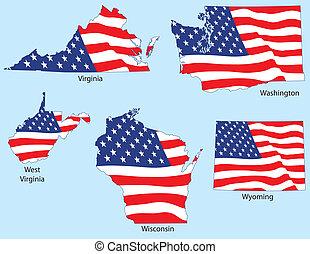 egyesült államok, zászlók, öt