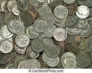 egyesült, érmek, egyesült államok, cölöp, ezüst, tízcentes