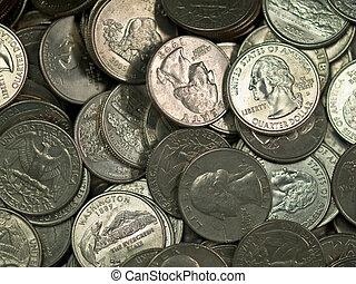 egyesült, érmek, lakás, egyesült államok, cölöp, ezüst