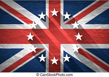 egyesült királyság, és, european szegényház, zászlók, egyesített, helyett, a, 2016, referendum, képben látható, gyűrött újság, háttér., szüret, hatás, brexit