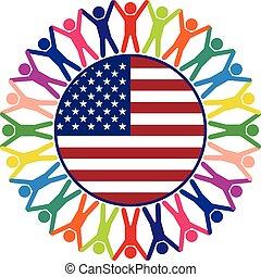 egyesült, színes, emberek, egyesült államok, vektor, ikon, amerika