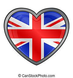 egyesült, szív, királyság, lobogó