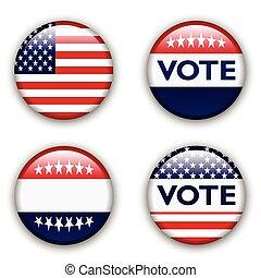 egyesült, szavaz, jelvény, egyesült államok