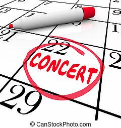 egyetértés, menetrend, zene, előadás, naptár, éneklés, esemény, figyelmeztetés