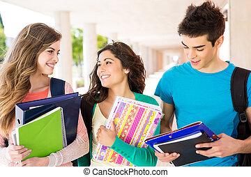 egyetem területe, csoport, fiatal, diákok