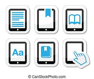 egyetemi docens, e-reader, e-book, vektor, ikon