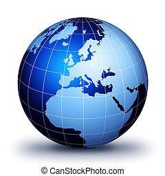 egyetlen, világ, globe!