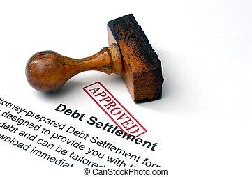 egyezség, adósság