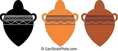 egyiptom, ősi, váza