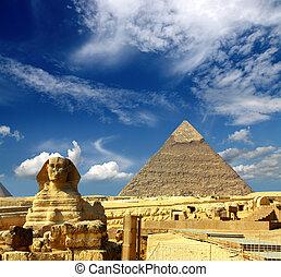 egyiptom, cheops piramis, és, szfrinx