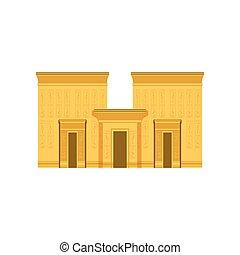 egyiptom, halánték, ősi, egyiptomi, épület, vektor, ábra