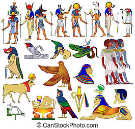 egyiptom, különféle, ősi, téma